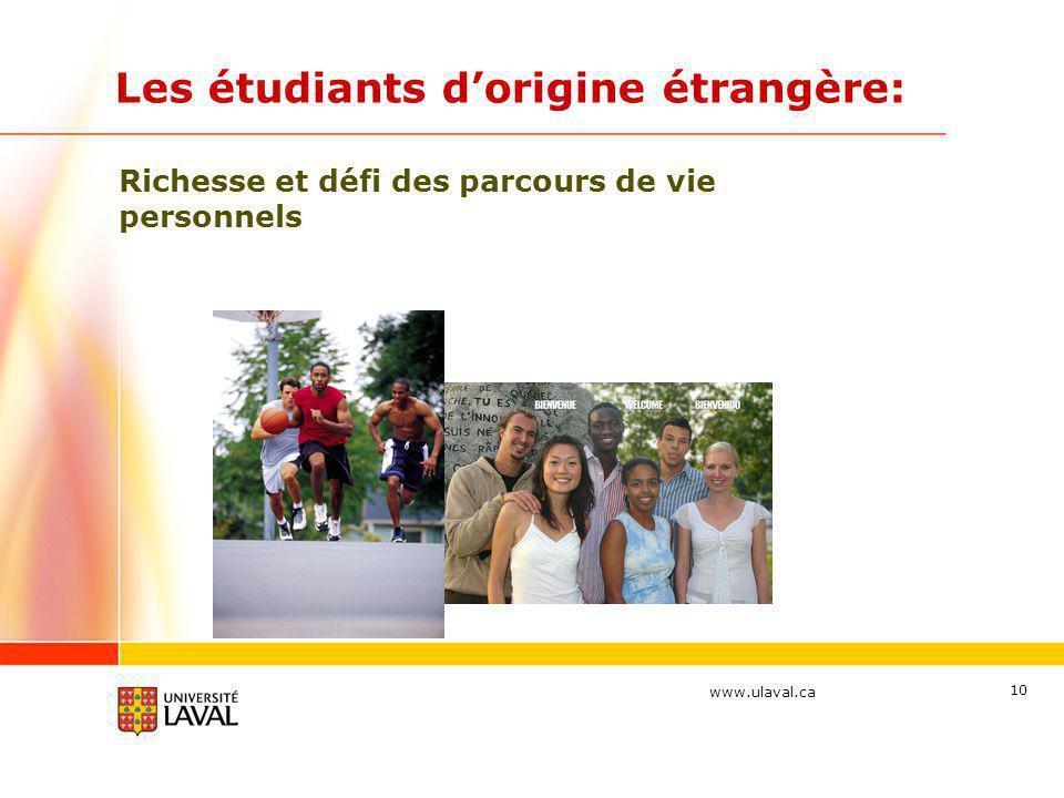 www.ulaval.ca Les étudiants dorigine étrangère: Richesse et défi des parcours de vie personnels 10