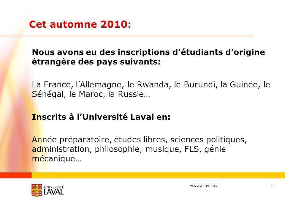 www.ulaval.ca Cet automne 2010: Nous avons eu des inscriptions détudiants dorigine étrangère des pays suivants: La France, lAllemagne, le Rwanda, le B