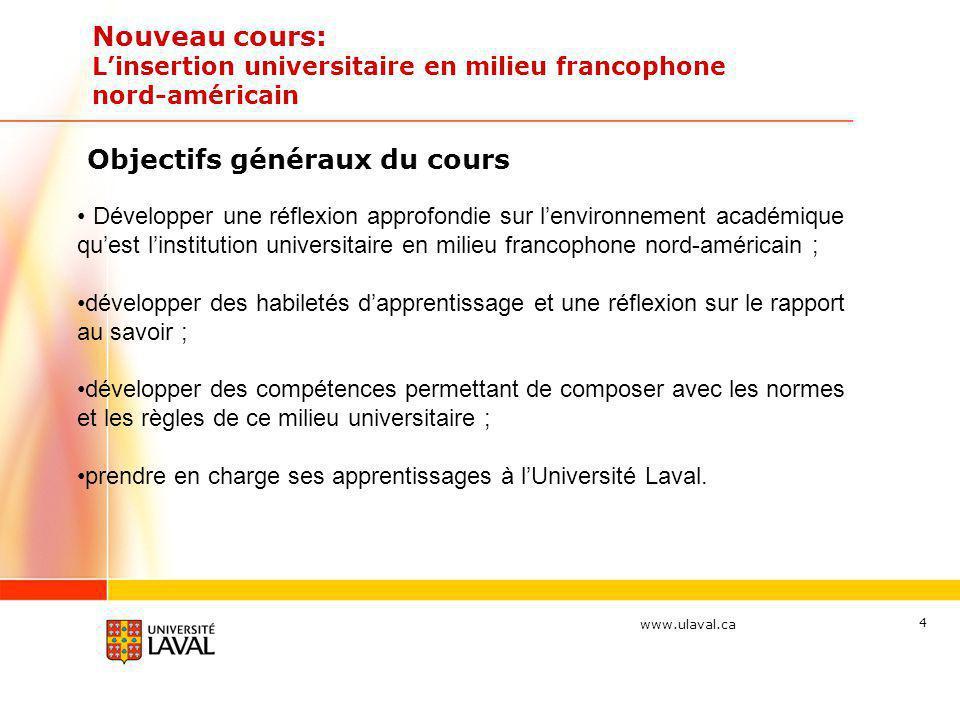 www.ulaval.ca Nouveau cours: Linsertion universitaire en milieu francophone nord-américain Objectifs généraux du cours Développer une réflexion approf