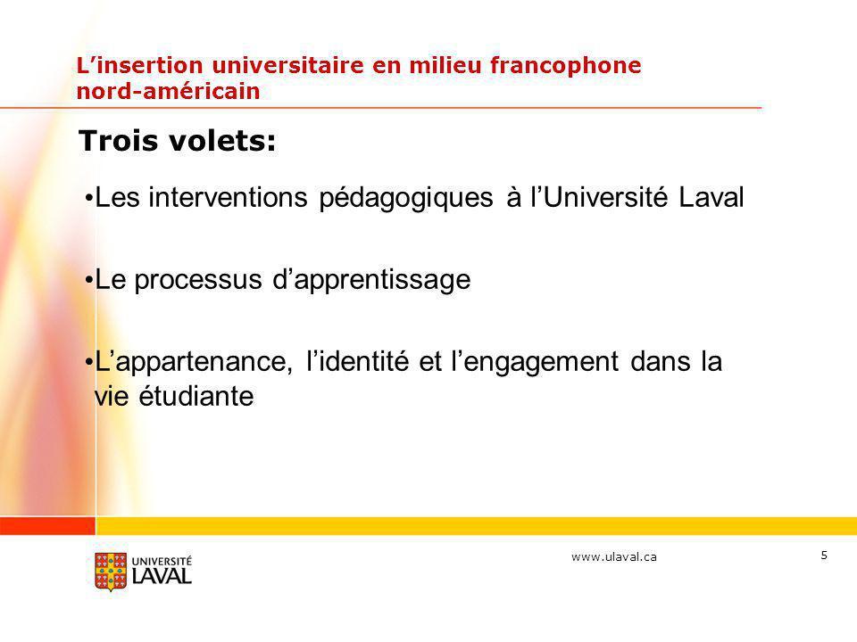 www.ulaval.ca Linsertion universitaire en milieu francophone nord-américain Trois volets: Les interventions pédagogiques à lUniversité Laval Le proces