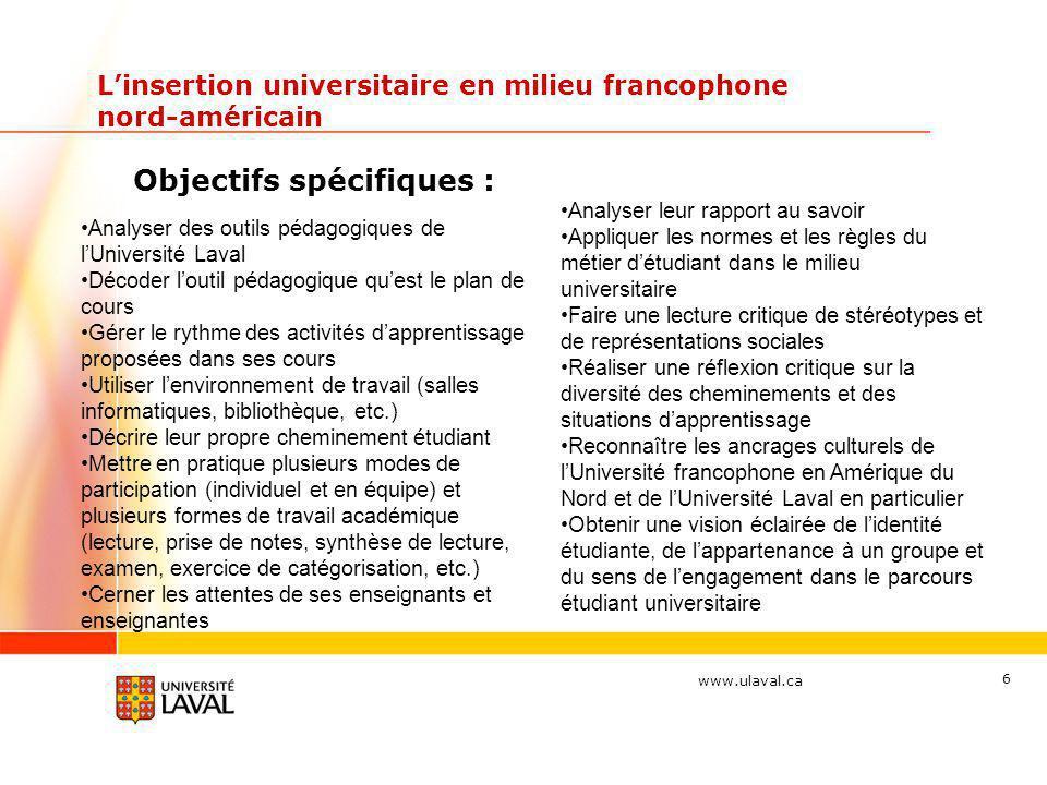 www.ulaval.ca Linsertion universitaire en milieu francophone nord-américain Objectifs spécifiques : 6 Analyser des outils pédagogiques de lUniversité