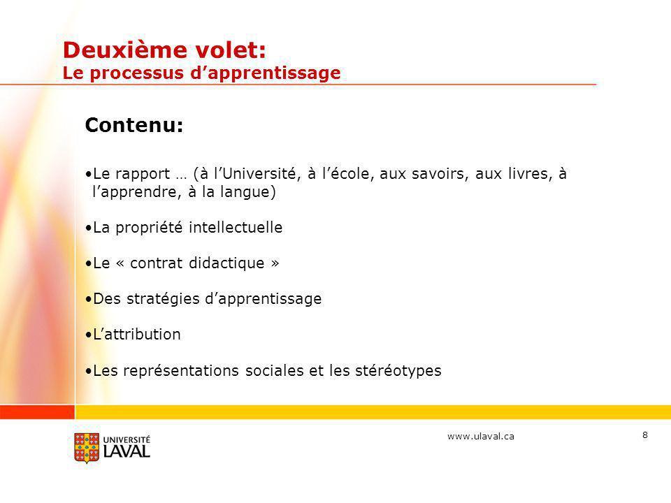 www.ulaval.ca Deuxième volet: Le processus dapprentissage Contenu: Le rapport … (à lUniversité, à lécole, aux savoirs, aux livres, à lapprendre, à la