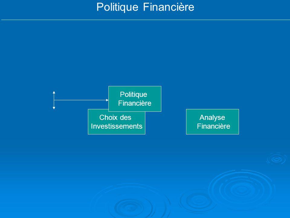 Politique Financière Analyse Financière Choix des Investissements Politique Financière