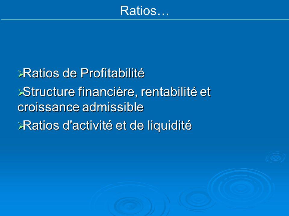 Ratios… Ratios de Profitabilité Ratios de Profitabilité Structure financière, rentabilité et croissance admissible Structure financière, rentabilité e