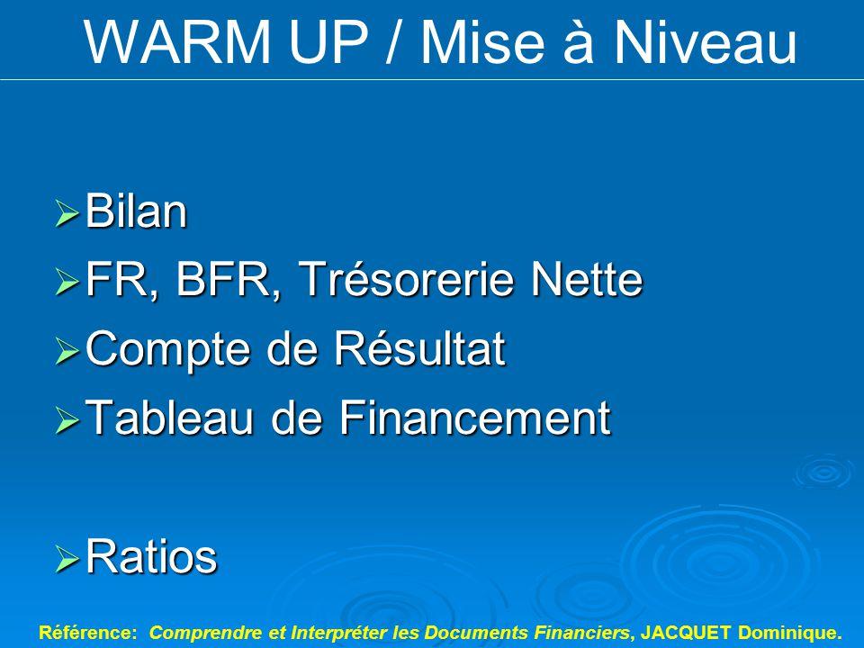 Bilan Bilan FR, BFR, Trésorerie Nette FR, BFR, Trésorerie Nette Compte de Résultat Compte de Résultat Tableau de Financement Tableau de Financement Ra