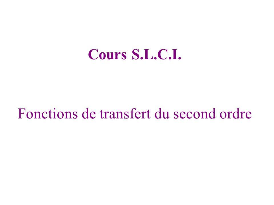 Fonctions de transfert du second ordre Cours S.L.C.I.