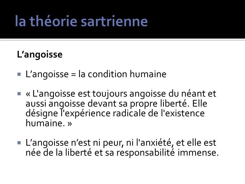 Langoisse Langoisse = la condition humaine « L'angoisse est toujours angoisse du néant et aussi angoisse devant sa propre liberté. Elle désigne l'expé