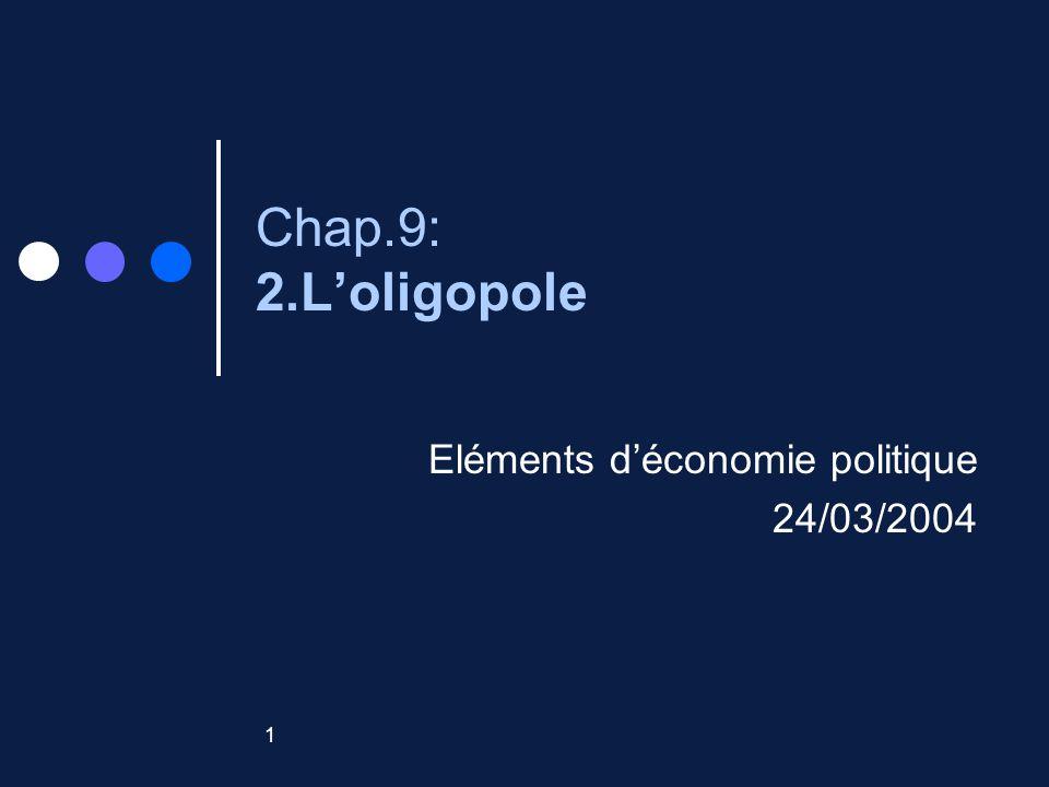 1 Chap.9: 2.Loligopole Eléments déconomie politique 24/03/2004