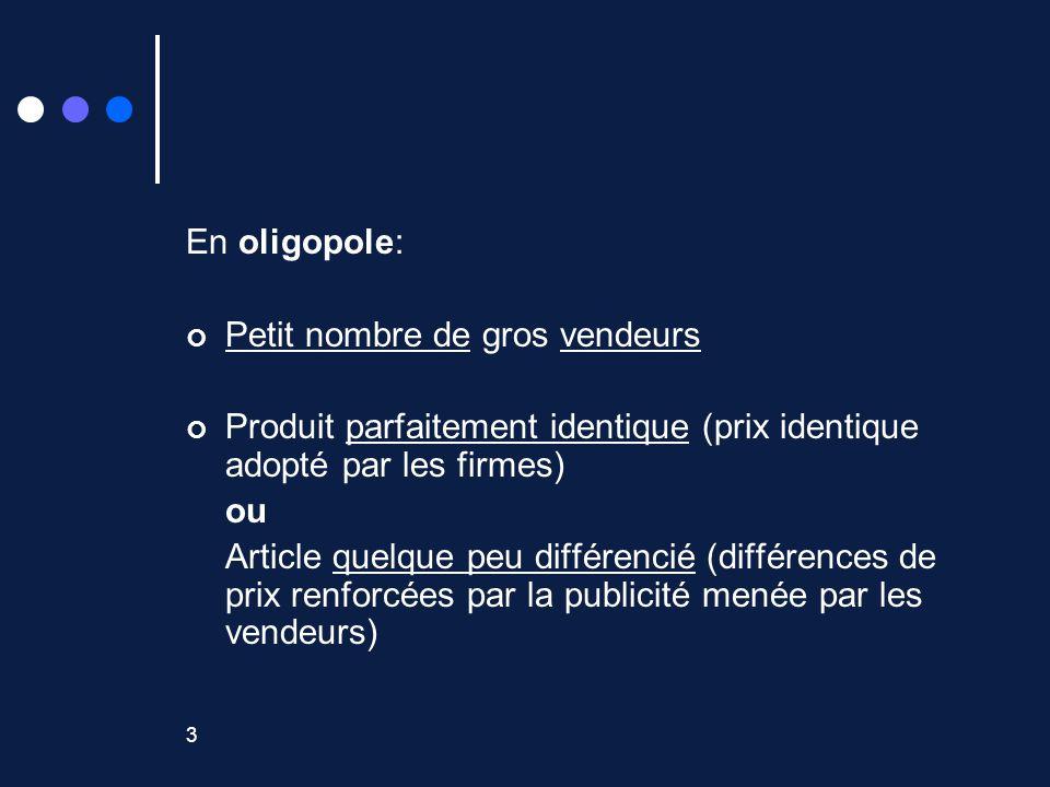 3 En oligopole: Petit nombre de gros vendeurs Produit parfaitement identique (prix identique adopté par les firmes) ou Article quelque peu différencié (différences de prix renforcées par la publicité menée par les vendeurs)