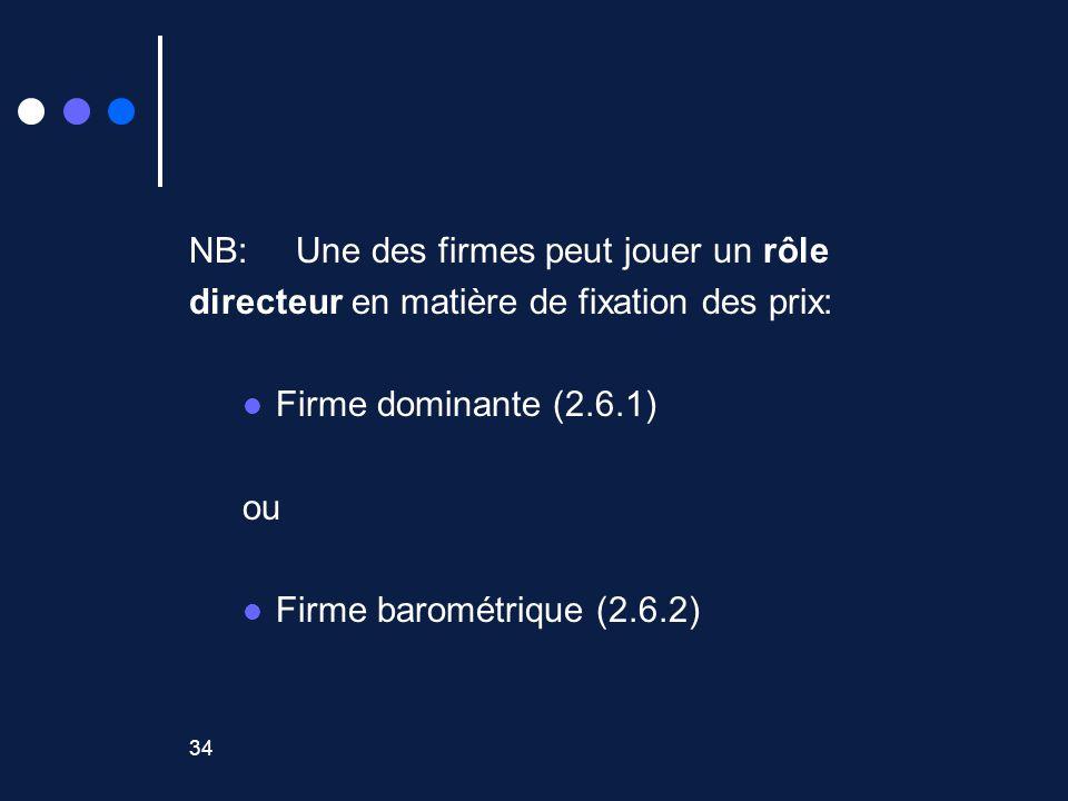34 NB: Une des firmes peut jouer un rôle directeur en matière de fixation des prix: Firme dominante (2.6.1) ou Firme barométrique (2.6.2)