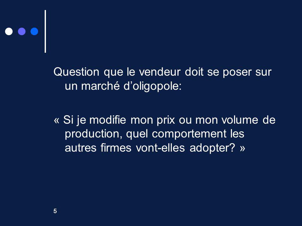 5 Question que le vendeur doit se poser sur un marché doligopole: « Si je modifie mon prix ou mon volume de production, quel comportement les autres firmes vont-elles adopter.