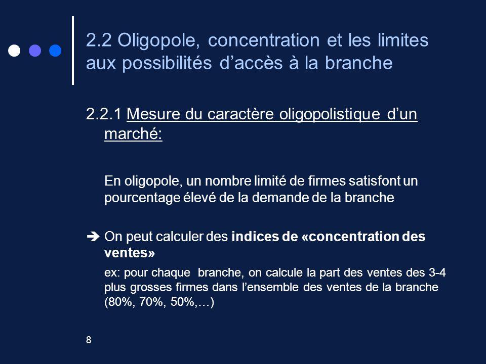 8 2.2 Oligopole, concentration et les limites aux possibilités daccès à la branche 2.2.1 Mesure du caractère oligopolistique dun marché: En oligopole, un nombre limité de firmes satisfont un pourcentage élevé de la demande de la branche On peut calculer des indices de «concentration des ventes» ex: pour chaque branche, on calcule la part des ventes des 3-4 plus grosses firmes dans lensemble des ventes de la branche (80%, 70%, 50%,…)