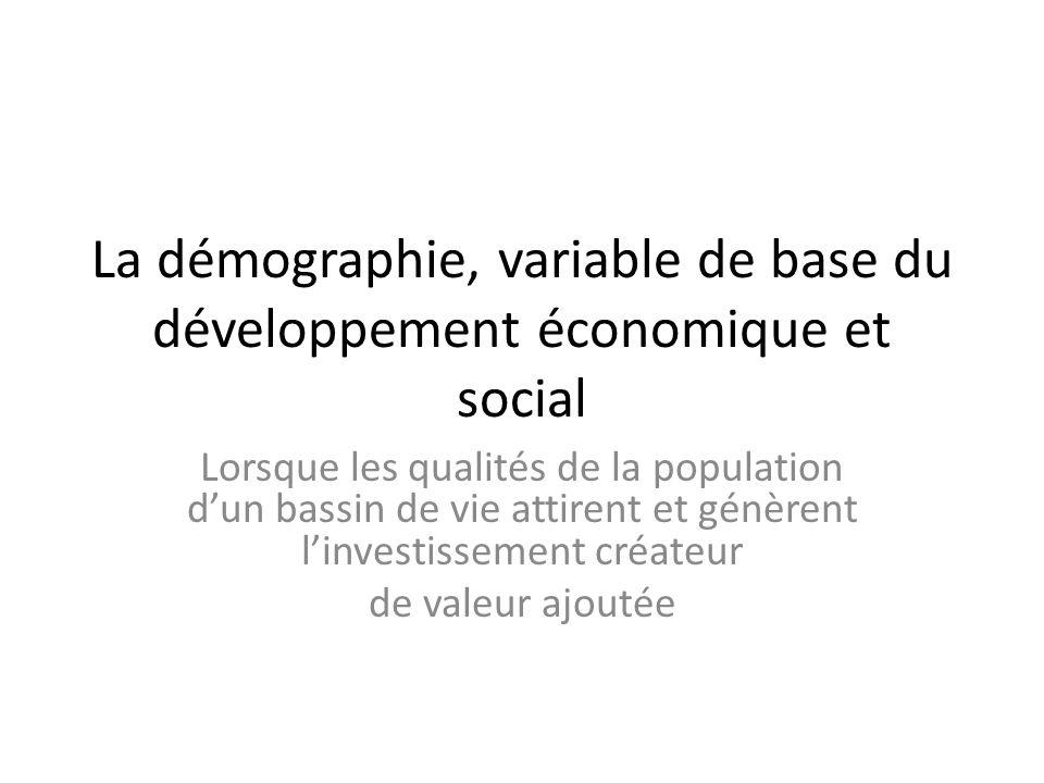 La démographie, variable de base du développement économique et social Lorsque les qualités de la population dun bassin de vie attirent et génèrent linvestissement créateur de valeur ajoutée