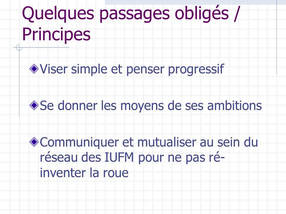 Quelques passages obligés / Principes Viser simple et penser progressif Se donner les moyens de ses ambitions Communiquer et mutualiser au sein du réseau des IUFM pour ne pas ré- inventer la roue