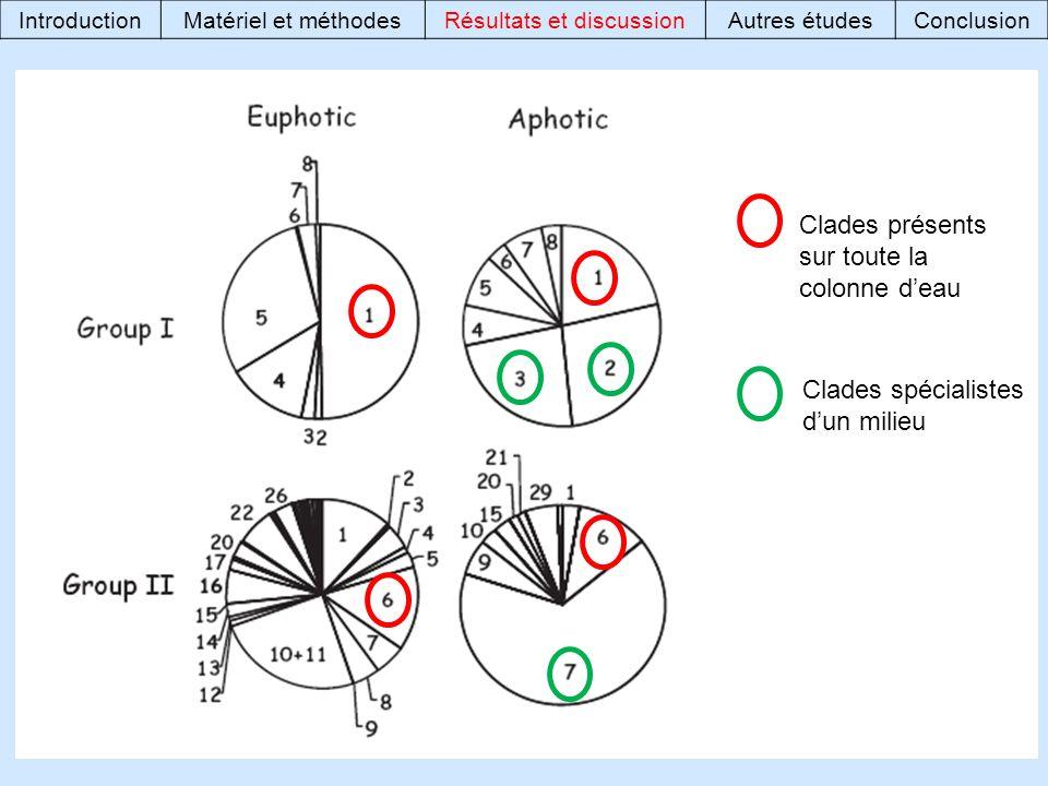 Clades présents sur toute la colonne deau Clades spécialistes dun milieu IntroductionMatériel et méthodesRésultats et discussionAutres étudesConclusion