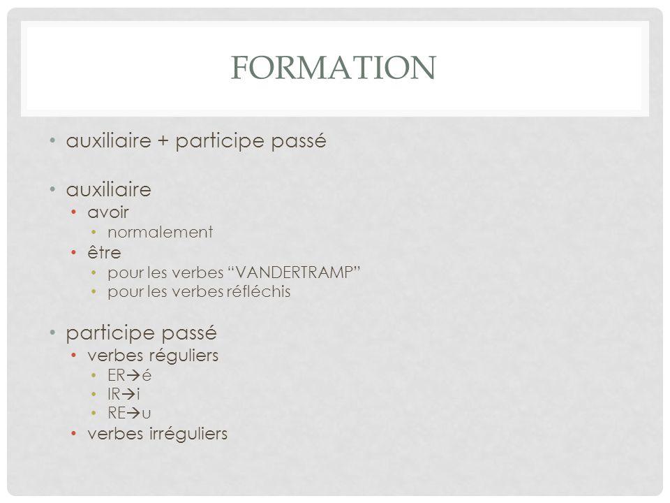 FORMATION auxiliaire + participe passé auxiliaire avoir normalement être pour les verbes VANDERTRAMP pour les verbes réfléchis participe passé verbes