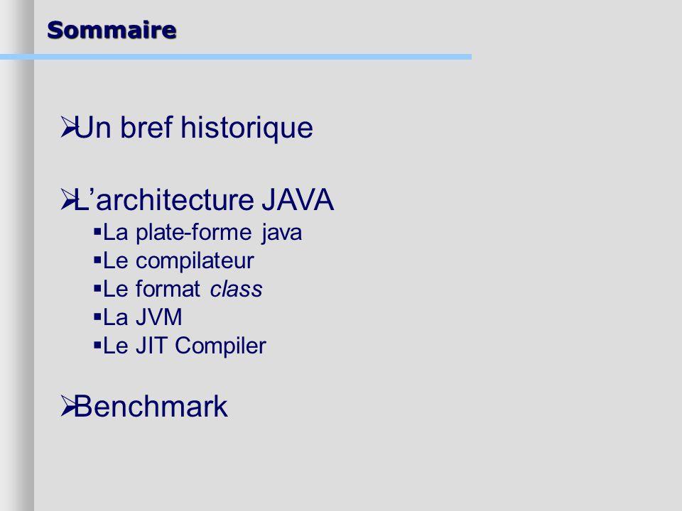 Sommaire Un bref historique Larchitecture JAVA La plate-forme java Le compilateur Le format class La JVM Le JIT Compiler Benchmark