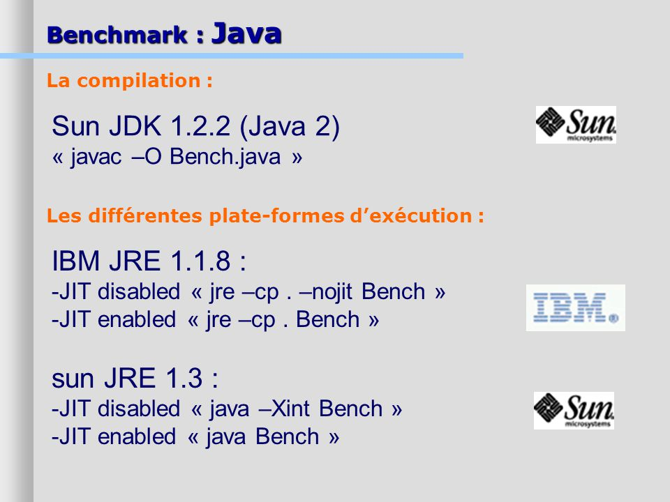 IBM JRE 1.1.8 : -JIT disabled « jre –cp.–nojit Bench » -JIT enabled « jre –cp.