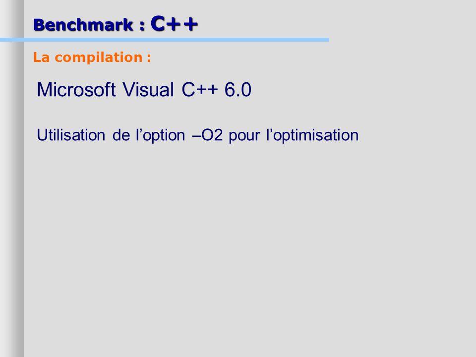 Benchmark : C++ Microsoft Visual C++ 6.0 Utilisation de loption –O2 pour loptimisation La compilation :