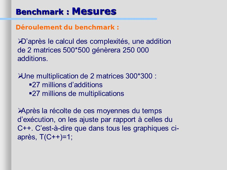 Benchmark : Mesures Daprès le calcul des complexités, une addition de 2 matrices 500*500 génèrera 250 000 additions.