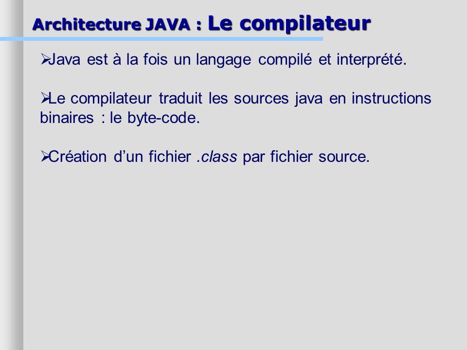 Architecture JAVA : Le compilateur Java est à la fois un langage compilé et interprété. Le compilateur traduit les sources java en instructions binair