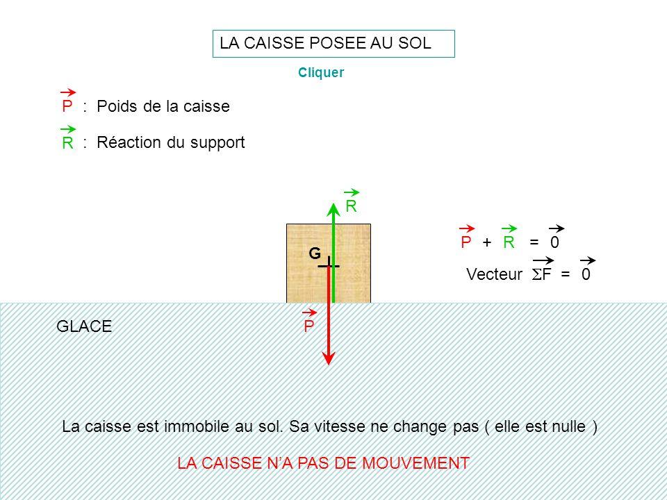 LA CAISSE POSEE AU SOL G P R PR+=0 P: Poids de la caisse R : Réaction du support La caisse est immobile au sol. Sa vitesse ne change pas ( elle est nu