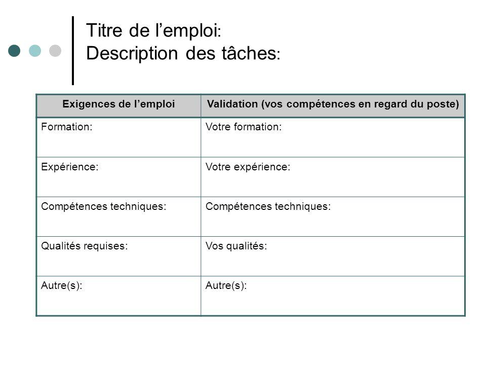 Titre de lemploi : Description des tâches : Exigences de lemploiValidation (vos compétences en regard du poste) Formation:Votre formation: Expérience: