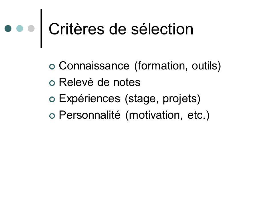Critères de sélection Connaissance (formation, outils) Relevé de notes Expériences (stage, projets) Personnalité (motivation, etc.)