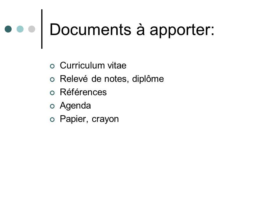 Documents à apporter: Curriculum vitae Relevé de notes, diplôme Références Agenda Papier, crayon