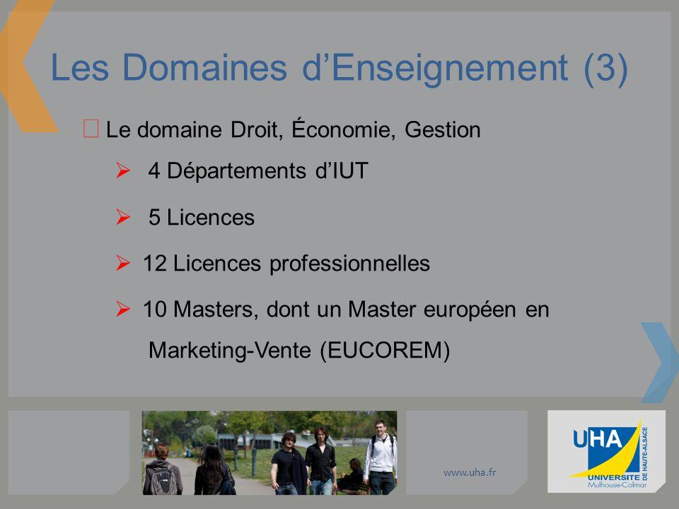 www.uha.fr Les Domaines dEnseignement (3) Le domaine Droit, Économie, Gestion 4 Départements dIUT 5 Licences 12 Licences professionnelles 10 Masters,