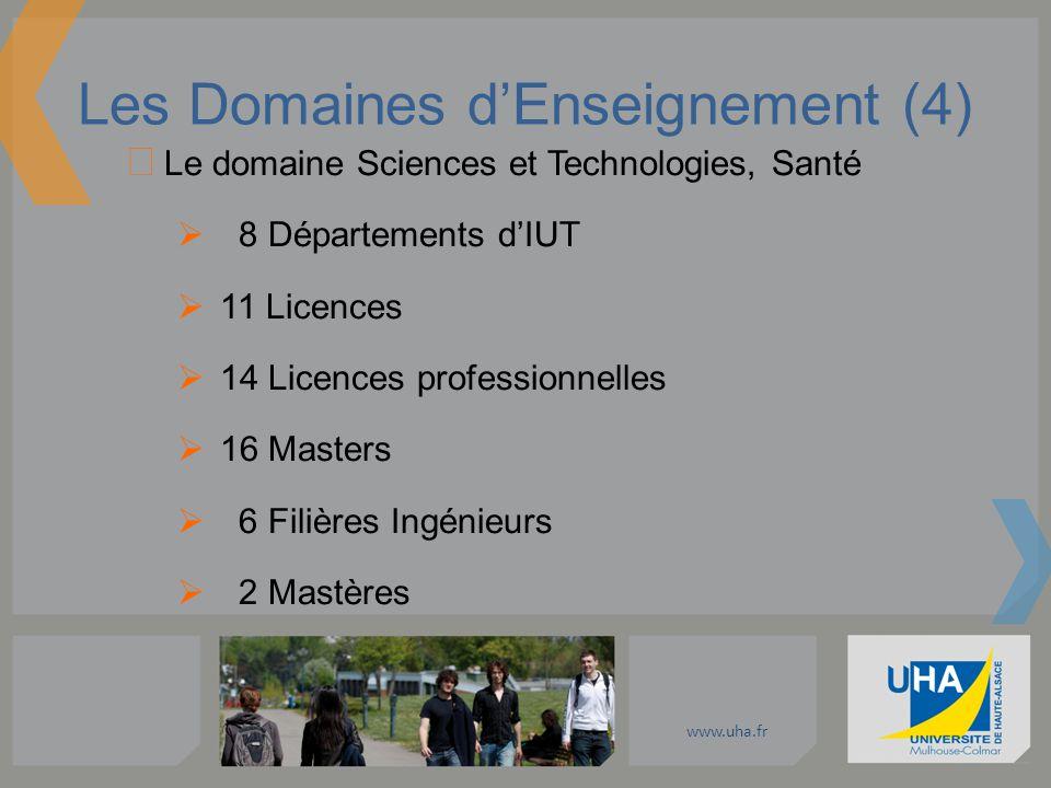 www.uha.fr Les Domaines dEnseignement (4) Le domaine Sciences et Technologies, Santé 8 Départements dIUT 11 Licences 14 Licences professionnelles 16 M