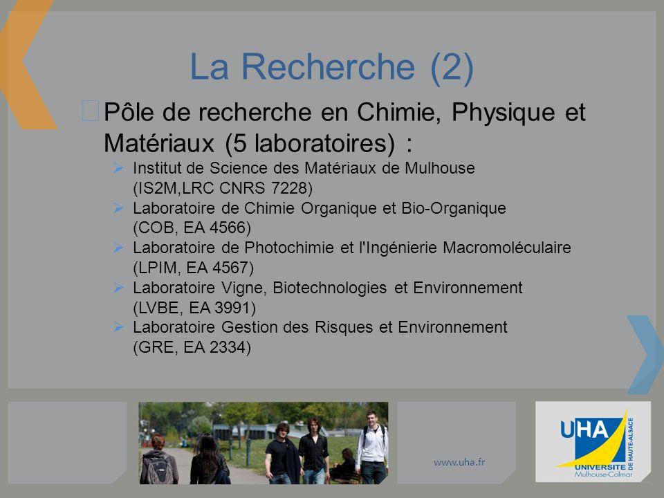 www.uha.fr La Recherche (2) Pôle de recherche en Chimie, Physique et Matériaux (5 laboratoires) : Institut de Science des Matériaux de Mulhouse (IS2M,