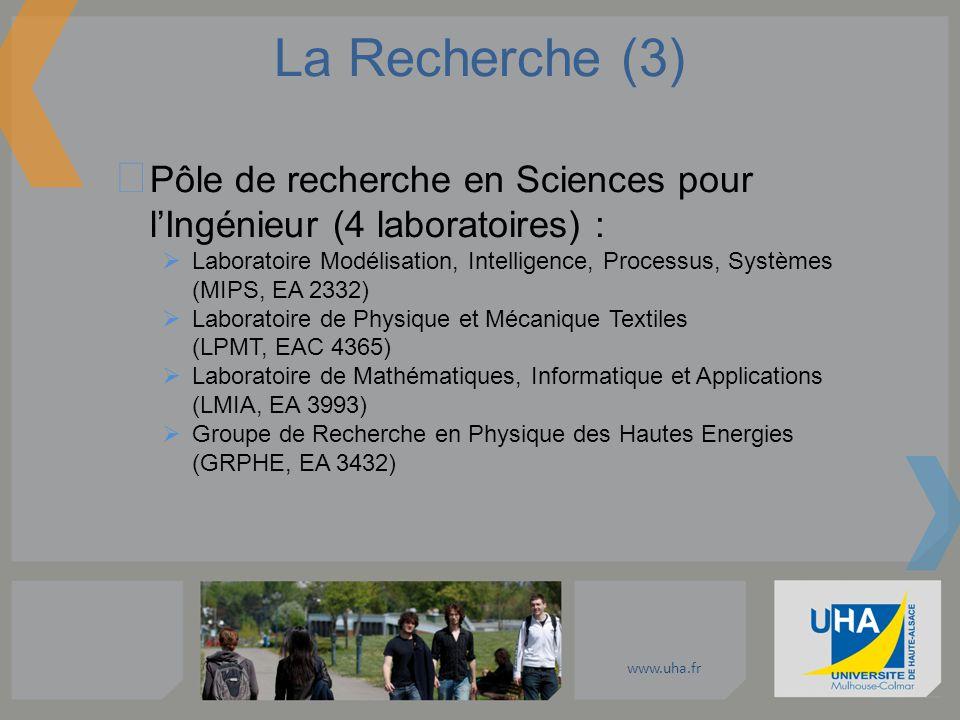 www.uha.fr La Recherche (3) Pôle de recherche en Sciences pour lIngénieur (4 laboratoires) : Laboratoire Modélisation, Intelligence, Processus, Systèm