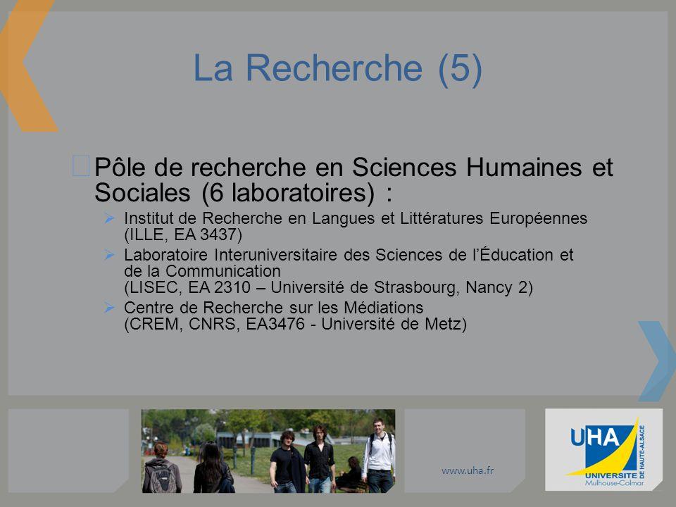 www.uha.fr La Recherche (5) Pôle de recherche en Sciences Humaines et Sociales (6 laboratoires) : Institut de Recherche en Langues et Littératures Eur