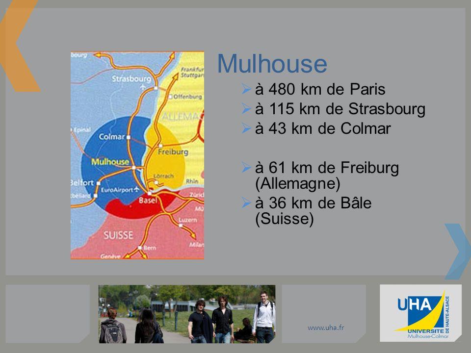 Mulhouse à 480 km de Paris à 115 km de Strasbourg à 43 km de Colmar à 61 km de Freiburg (Allemagne) à 36 km de Bâle (Suisse)