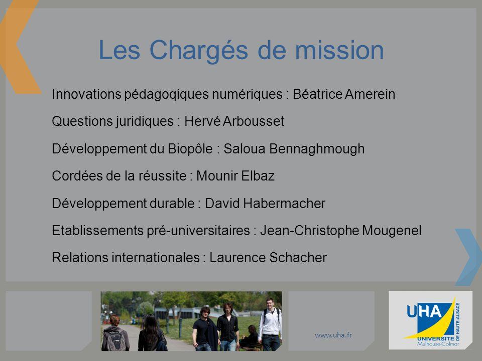 www.uha.fr Les Chargés de mission Innovations pédagoqiques numériques : Béatrice Amerein Questions juridiques : Hervé Arbousset Développement du Biopô