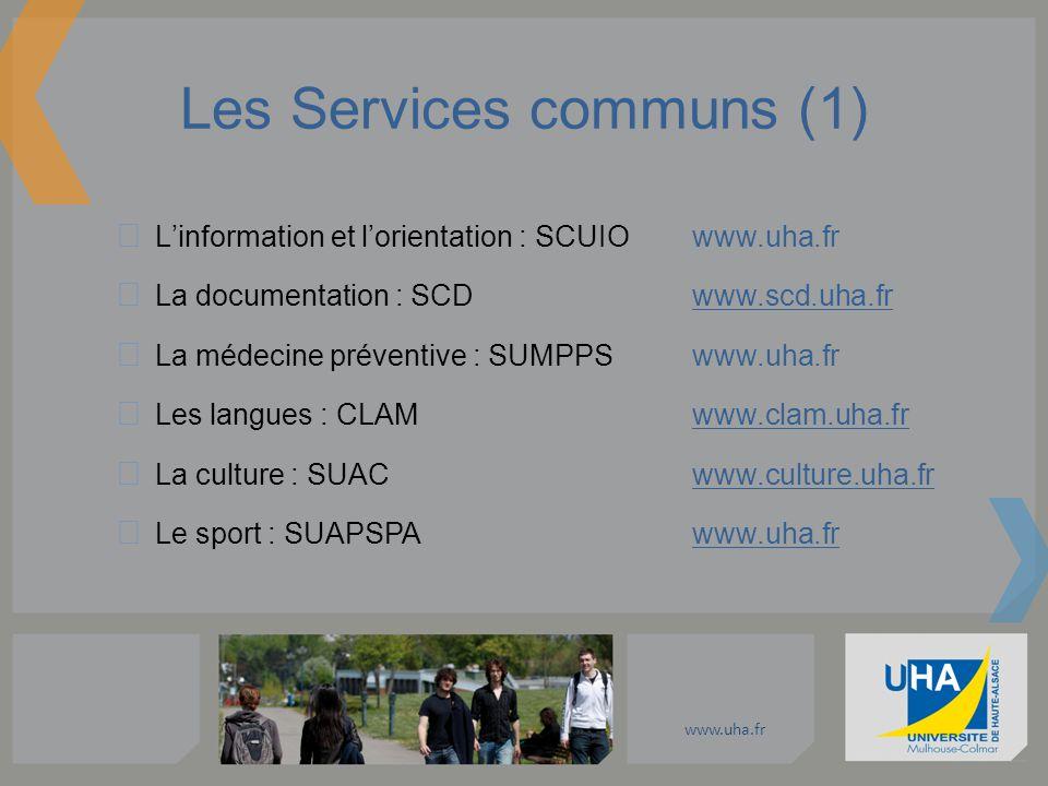 www.uha.fr Les Services communs (1) Linformation et lorientation : SCUIOwww.uha.fr La documentation : SCD www.scd.uha.fr La médecine préventive : SUMP