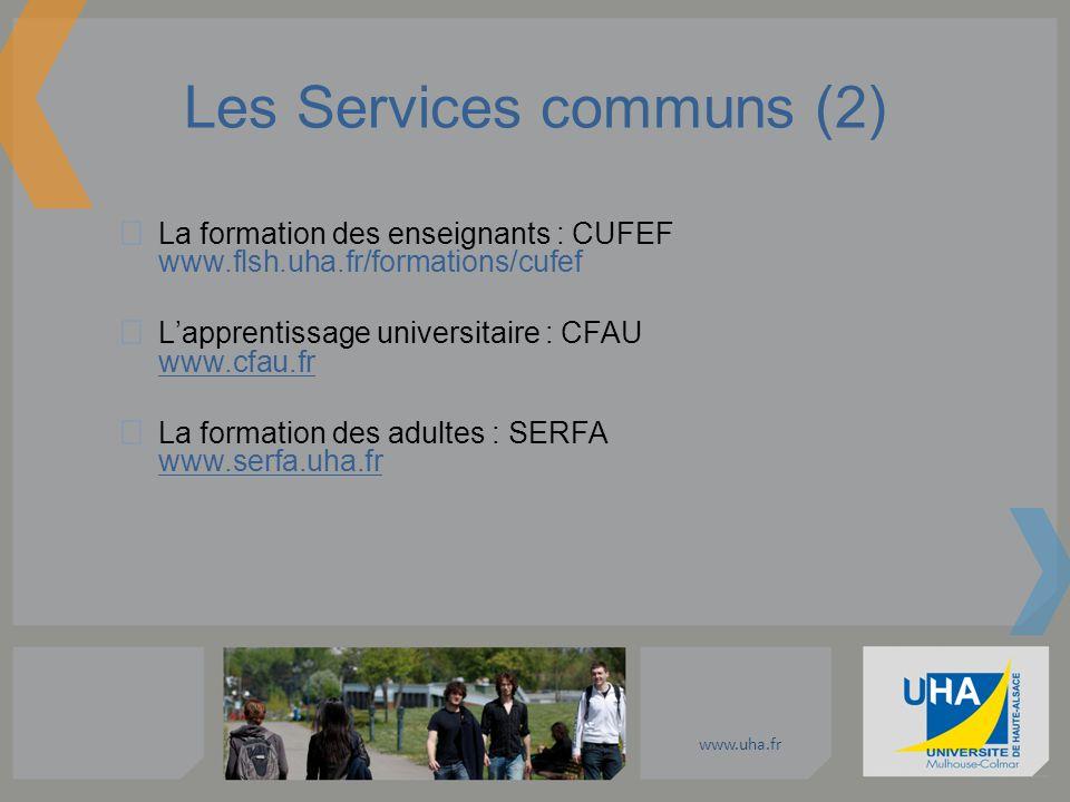 www.uha.fr Les Services communs (2) La formation des enseignants : CUFEF www.flsh.uha.fr/formations/cufef Lapprentissage universitaire : CFAU www.cfau