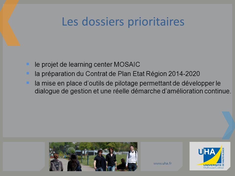 www.uha.fr le projet de learning center MOSAIC la préparation du Contrat de Plan Etat Région 2014-2020 la mise en place doutils de pilotage permettant