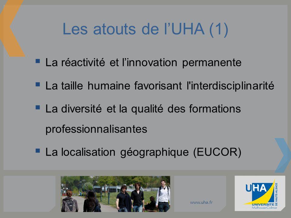 www.uha.fr Les atouts de lUHA (1) La réactivité et linnovation permanente La taille humaine favorisant l'interdisciplinarité La diversité et la qualit