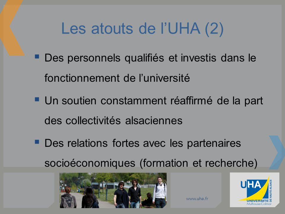 www.uha.fr Les atouts de lUHA (2) Des personnels qualifiés et investis dans le fonctionnement de luniversité Un soutien constamment réaffirmé de la pa