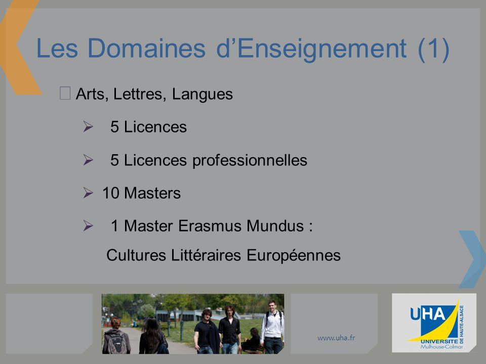 www.uha.fr Les Domaines dEnseignement (1) Arts, Lettres, Langues 5 Licences 5 Licences professionnelles 10 Masters 1 Master Erasmus Mundus : Cultures