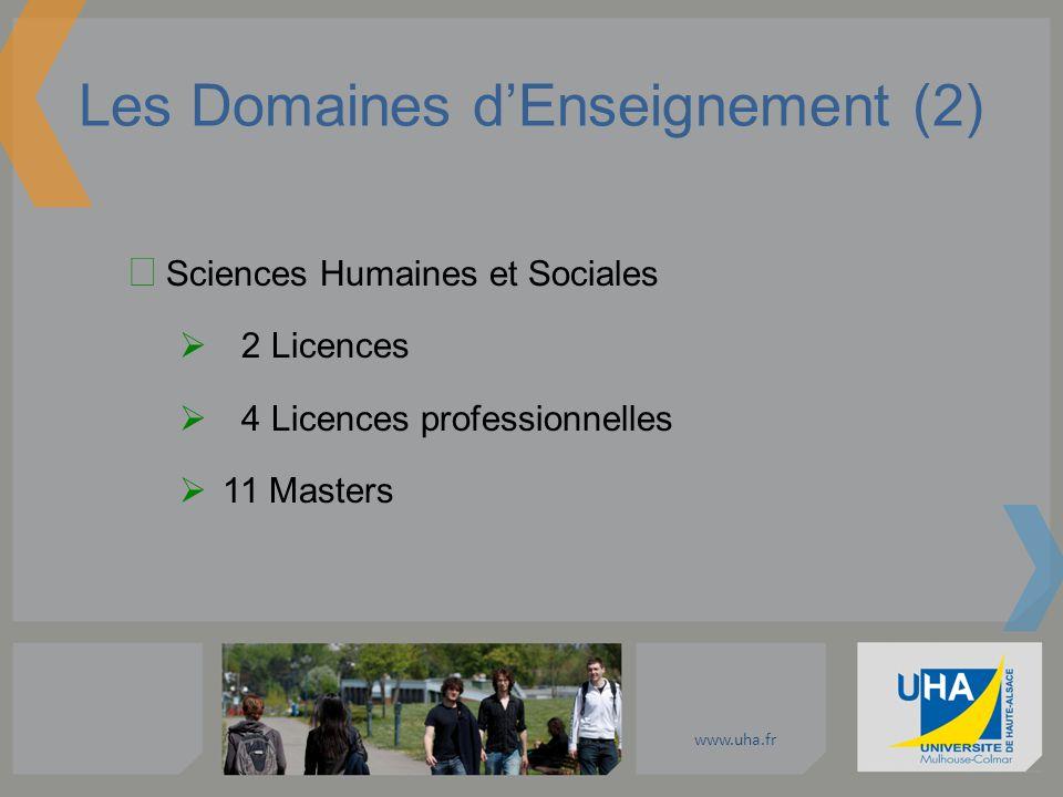www.uha.fr Les Domaines dEnseignement (2) Sciences Humaines et Sociales 2 Licences 4 Licences professionnelles 11 Masters