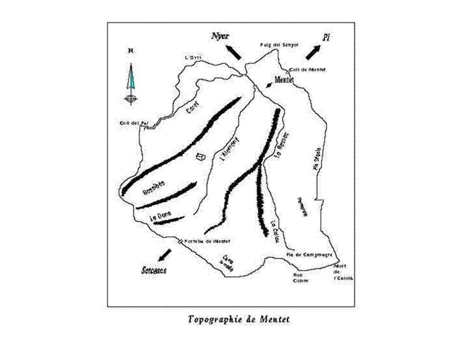 Carte ancienne du XVII° siècle - situant Mentet très à lécart du chemin de Camprodon à Villefranche par Setcases, Pi et Sahorre, cette carte place le village en relation privilégiée avec Nuria, Nyer et Thués