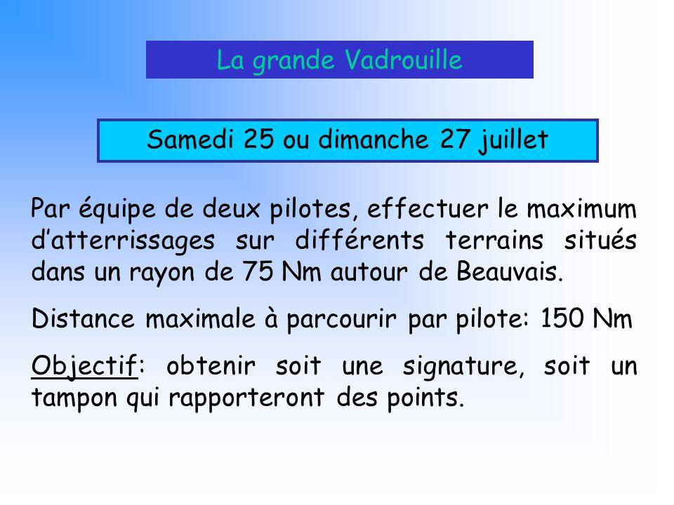 La grande Vadrouille Samedi 25 ou dimanche 27 juillet Par équipe de deux pilotes, effectuer le maximum datterrissages sur différents terrains situés d