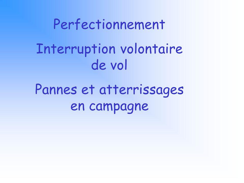 Perfectionnement Interruption volontaire de vol Pannes et atterrissages en campagne