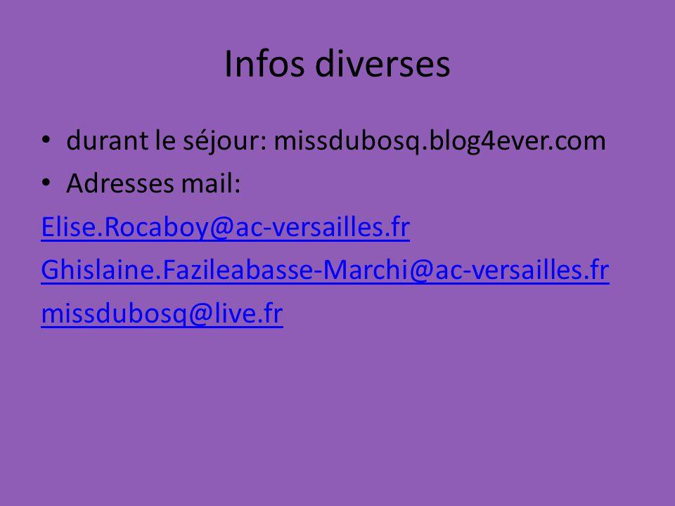 Infos diverses durant le séjour: missdubosq.blog4ever.com Adresses mail: Elise.Rocaboy@ac-versailles.fr Ghislaine.Fazileabasse-Marchi@ac-versailles.fr missdubosq@live.fr