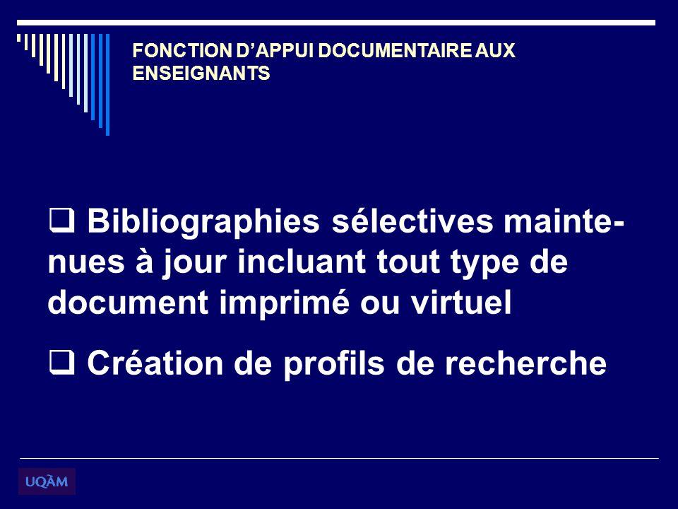 FONCTION DAPPUI DOCUMENTAIRE AUX ENSEIGNANTS Bibliographies sélectives mainte- nues à jour incluant tout type de document imprimé ou virtuel Création de profils de recherche