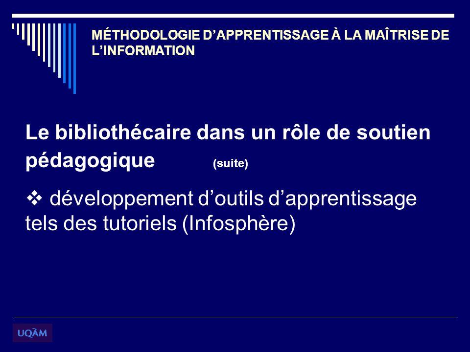 MÉTHODOLOGIE DAPPRENTISSAGE À LA MAÎTRISE DE LINFORMATION Le bibliothécaire dans un rôle de soutien pédagogique (suite) développement doutils dapprentissage tels des tutoriels (Infosphère)