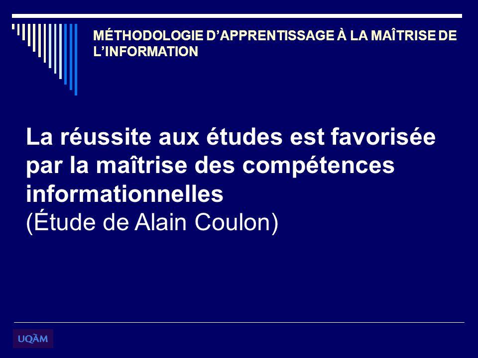 MÉTHODOLOGIE DAPPRENTISSAGE À LA MAÎTRISE DE LINFORMATION La réussite aux études est favorisée par la maîtrise des compétences informationnelles (Étude de Alain Coulon)